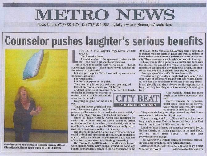 NY Daily News Francine Shore Article Laughter Yoga
