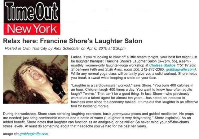 TimeOut New York Francine Shore Article
